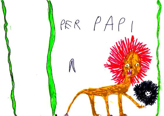 Dessin d'enfant, un leone per il mio papì